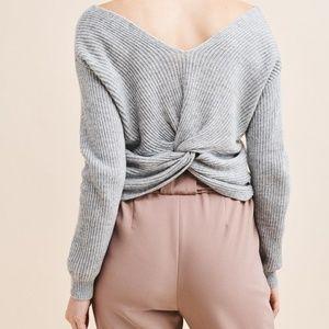 Dynamite Twist-Back Cropped Ribbed Wool Sweater